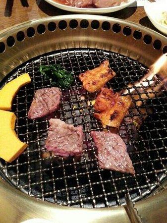 Myung Ga Korean Restaurant : Beef short ribs and pork belly.