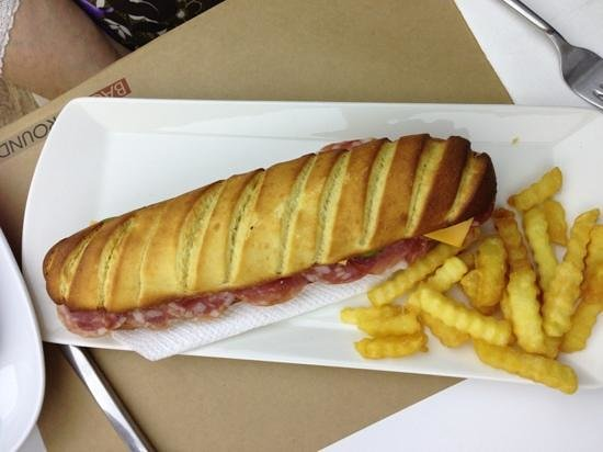 Background: ciabatta roll with Italian meat