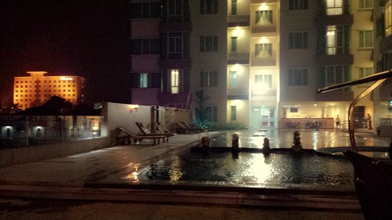 The BCC Hotel & Residence: swimming pool and jacuzzi.. comfy beach chairs