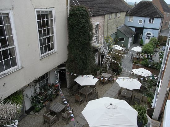 The Bull Hotel: looking down on the courtyard of this historic coaching inn - now The Stables serves pizza and p