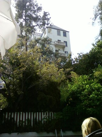 Chateau Marmont: View of main building from pool area