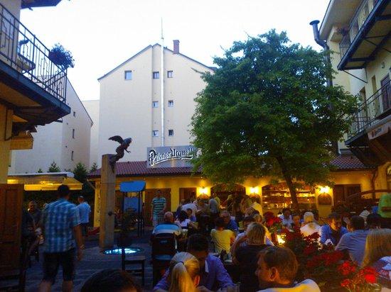 Plzensky restaurant Andel: The beer garden on a summer evening