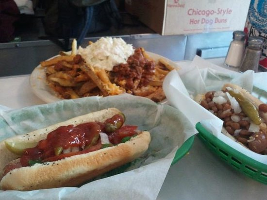 Wienery: Two Dogs, Large Loaded Fries, and Tip $16