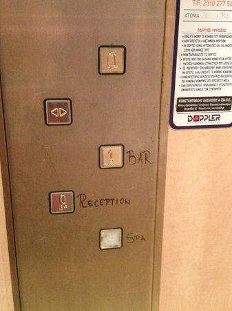 Ammouliani, Greece: Hand-written ...in elevator