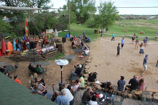 Paddler's Pub at Mountain Whitewater Descents: Volleyball, Horseshoes, Cornhole, and an amazing BBQ