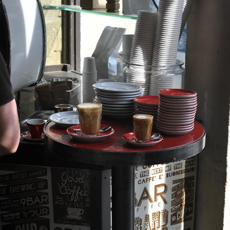 9 Bar Coffee: Coffee waiting to be taken to the customers