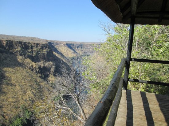 Gorges and Little Gorges Lodge: view from #4's balcony, the river runs below, zambia across the gorge
