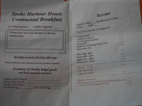 Sooke Harbour House Resort Hotel : Very Limited & Restrictive In-Room Dining