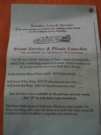 Sooke Harbour House Resort Hotel : Only 1:30pm Take Out Lunch/Picnic. No lunch served.