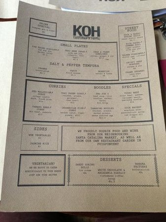 Koh: menu