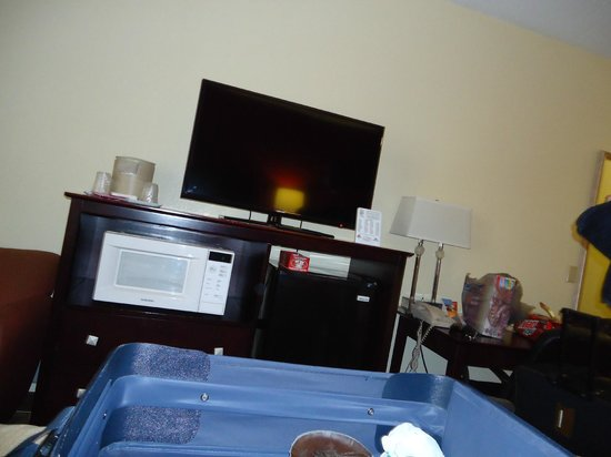 Red Roof Inn & Suites Cincinnati North-Mason: Tv and Refrigerator