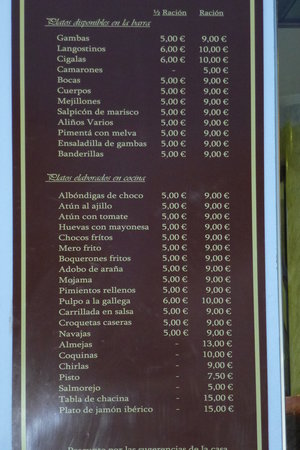 Doña Gamba : CARTA CON LOS PRECIOS