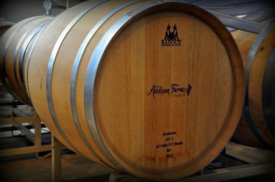 Addison Farms Vineyard: New barrel