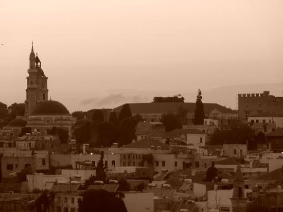 Minos Pension & Roof Garden Lounge: Sunset view over Rhodes