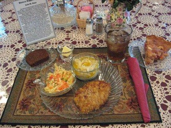 Trail Days Cafe & Museum: German  Schnitzel with Mashed Potatoes,  Cole Slaw, and Dark Rye Bread