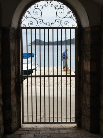 View from La Villa's side door out to sea