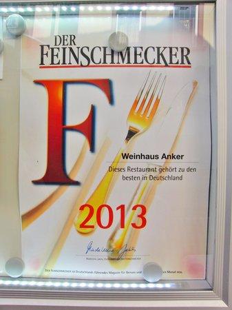 Weinhaus Anker: Feinschmeckerpreis 2013