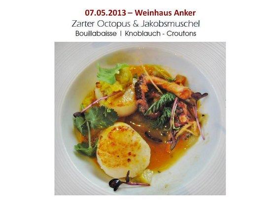 Weinhaus Anker: Jakobsmuscheln und Oktopus