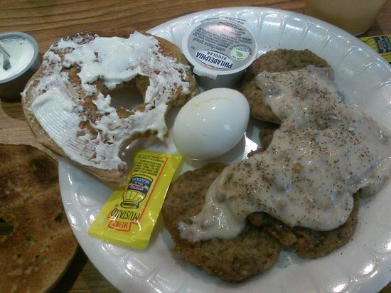 SpringHill Suites Charleston North/Ashley Phosphate : Bagel with cream cheese, boiled egg, turkey sausage patties with gravy, hot tea