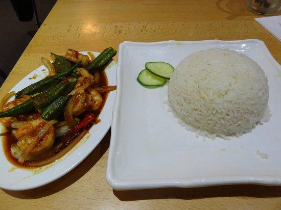 Rasa Sayang: Coconut steamed rice + Prawn sautee with Sambal Olek
