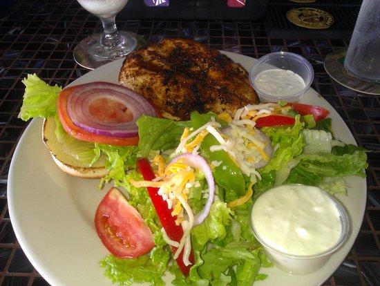Panga: Blackened Mahi-Mahi Sandwich w/salad.
