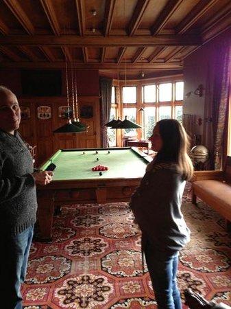 Pen-y-bryn Lodge: James showing us the Billiards room