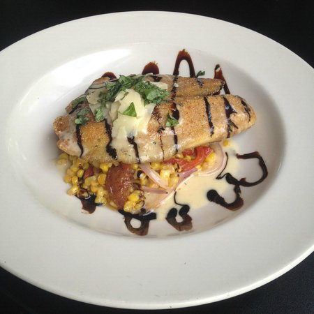 Marco's Italian Bistro: Parmesan crusted Tilapia over a roasted corn and potato salad with a lemon butter sauce and bals
