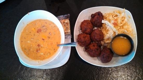 Rundown Cafe : Add a caption bowl of Run Down soup & conch fritters & slaw