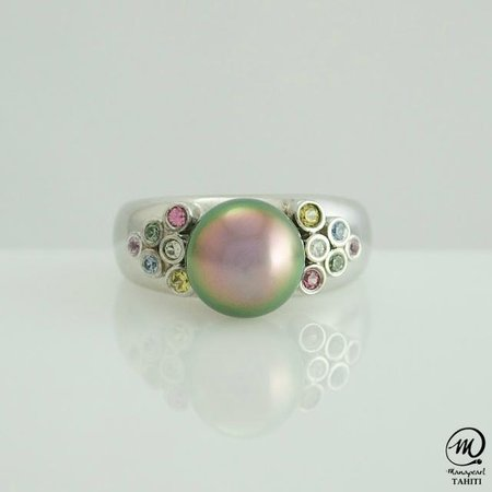 Manapearl Tahiti: Beautiful Tahitian Pearl Silver Ring