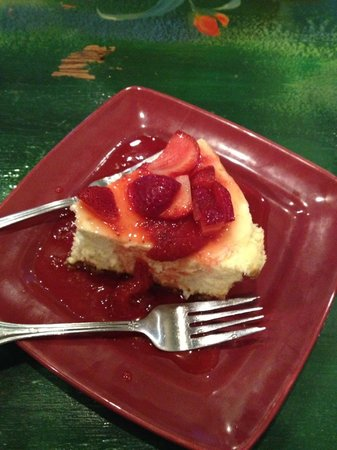 Dish: Cheesecake with strawberry topping