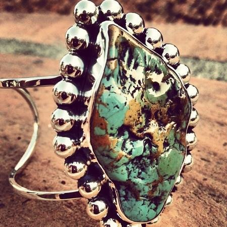 Floating Lotus: Stunning turquoise in sterling silver cuff!