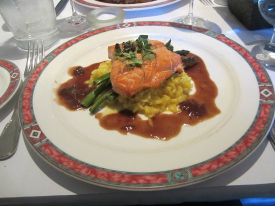Cafe Beaujolais: Dark sauce not the best choice for this salmon.