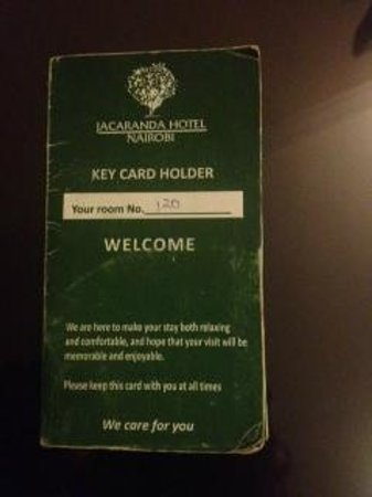 Jacaranda Nairobi Hotel: Antiquated Card holder