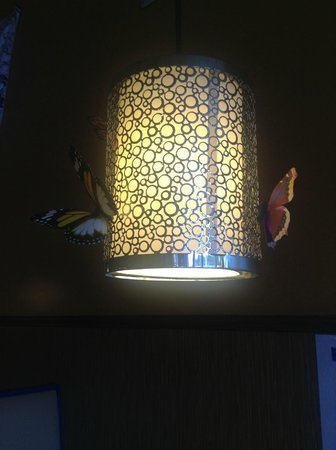 Momiji Japanese & Chinese Restaurant: Light over table with butterflies.