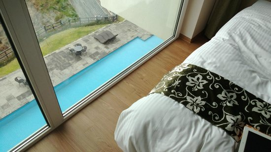 Y Resort Jeju: The floor to ceiling window gives a cool view of the pool below...