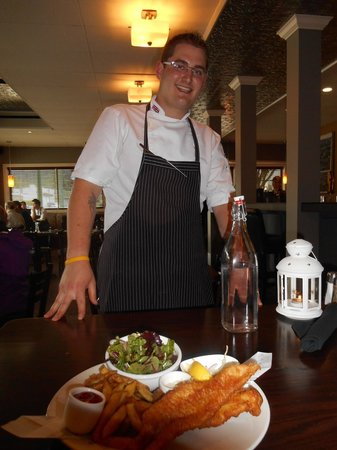 293 Wallace Street Restaurant: Had to ask Jason to pose with his tempura style fish n chips, the best Ive had.