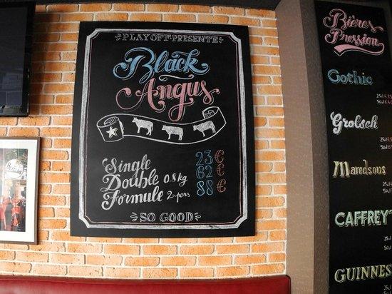PlayOff Wagram : Restaurant menu