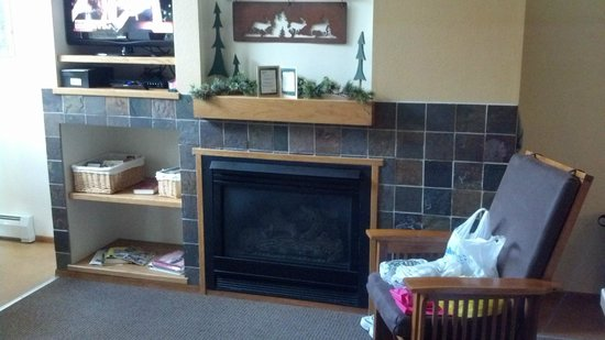 Aspen Winds on Fall River : gas fireplace and TV