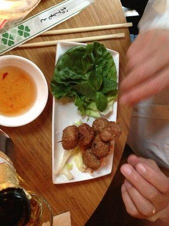 Pho: pork and lemongrass balls