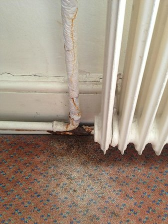Chequers Hotel: Suite 219 Water damaged carpet and rusted pipes...