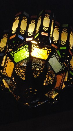 Riad Ahlam: Light above dining table.