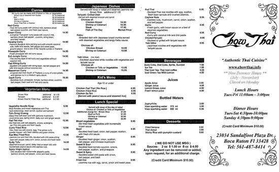 Chow Thai menu