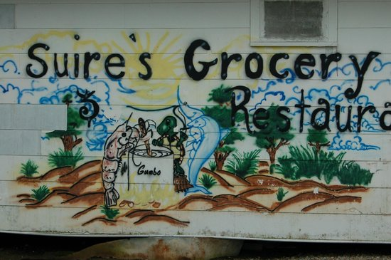 Suire's Grocery art on the building