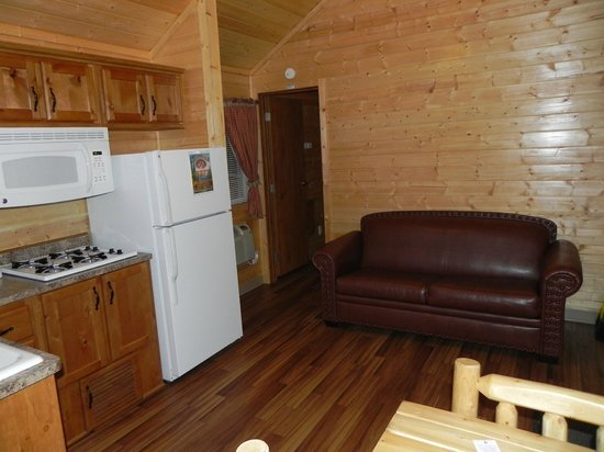 Yellowstone Koa Mountainside : Kitchenette and couch