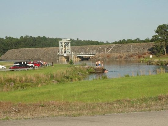 Lewis-Smith Lake & Dam: swimming area with dam