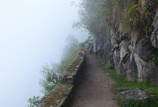 Inca Bridge: Trail to the drawbridge in the fog