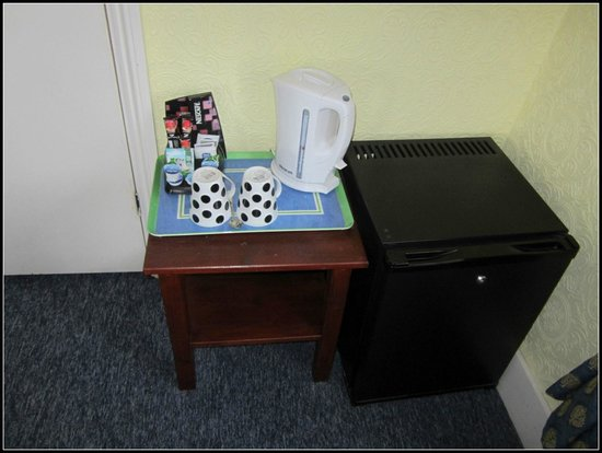 Ilfracombe House Hotel: Small fridge & coffee/tea facilities