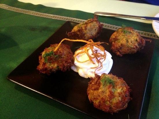 Kerasma Restaurant: Zucchini balls with Feta, herbs, and smoked cheese ...