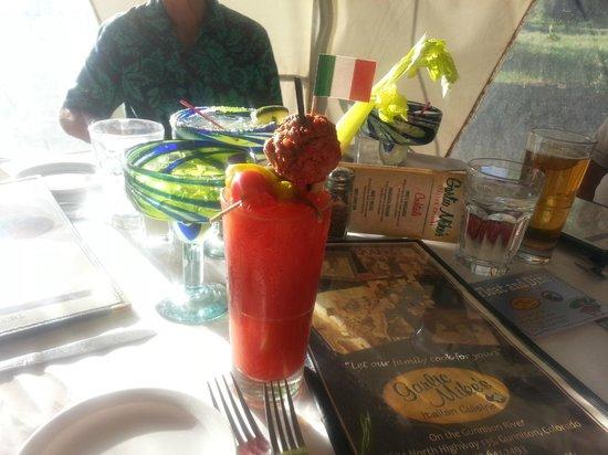 Garlic Mike's Italian Cuisine: Italian Bloody Mary with a Meatball