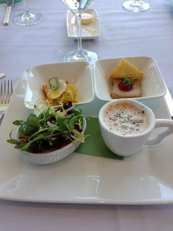 Amaranth Restaurant : Gourmandise tasting: Chilled maine Lobster, Foie gras Mousse, Farmhouse Frittata,Roasted Tomat s